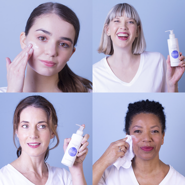 Tile of 4 different natural models holding or applying Balance Me Pre and Probiotic Cleansing Milk 180ml to their faces