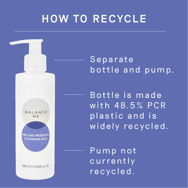 Details of how to recycle the Balance Me Pre and Probiotic Cleansing Milk 180ml  packaging