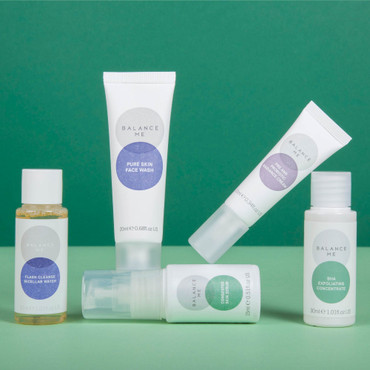 Unboxed Balance Me Clearer Skin Edit (5 products) on a green background