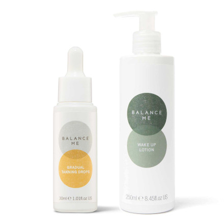 Balance Me Tan Booster bundle (2 products) on a white background