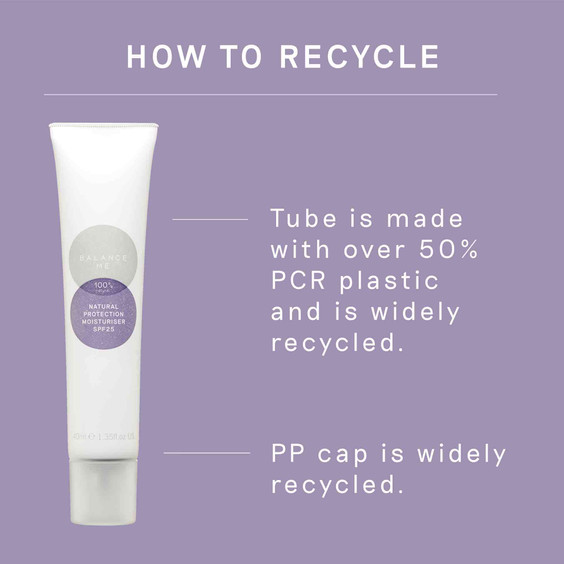 How to recycle the Balance Me Natural Protection Moisturiser SPF25 40ml packaging