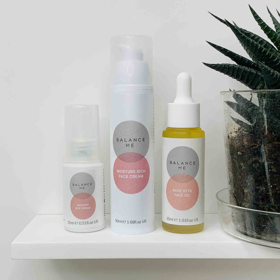 A trio of Balance Me products from our Calm + Replenish range in a bathroom setting