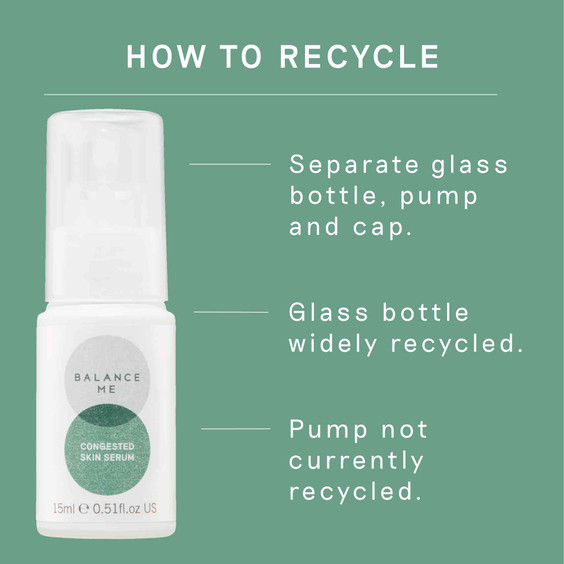 Details of how to recycle the Balance Me Congested Skin Serum packaging