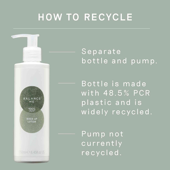 Details how to recycle Balance Me Wake Up Lotion 250ml  packaging