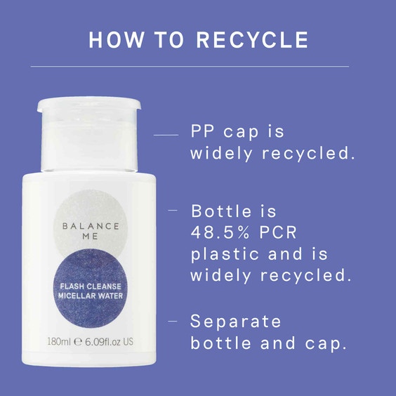 Details of how to recycle the Balance Me Flash Cleanse Micellar Water packaging