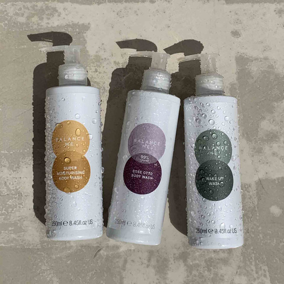 An trio of Balance Me body washes