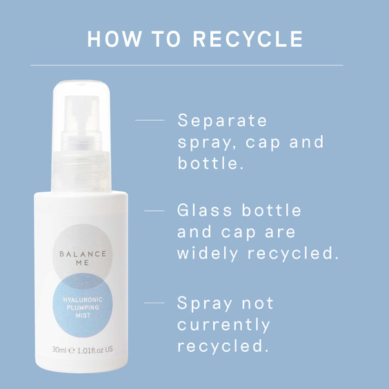 Details of how to recycle Balance Me Hyaluronic Plumping Mist packaging
