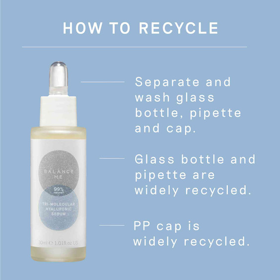 Details of how to recycle Balance Me Tri-Molecular Hyaluronic Serum packaging
