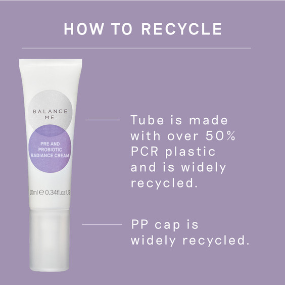 Details how to recycle the Balance Me Pre and Probiotic Radiance Cream 10ml packaging