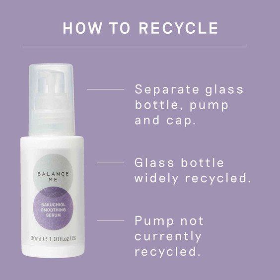 Details how to recycle Balance Me Bakuchiol Soothing Serum packaging