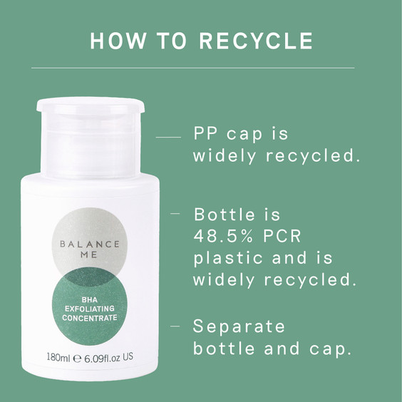 Details of how to recycle the  Balance Me BHA Exfoliating Concentrate packaging
