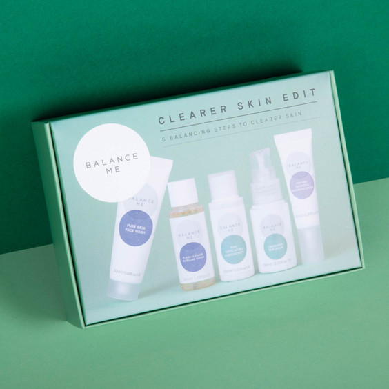 Balance Me Clearer Skin Edit box (5 products) on a green background