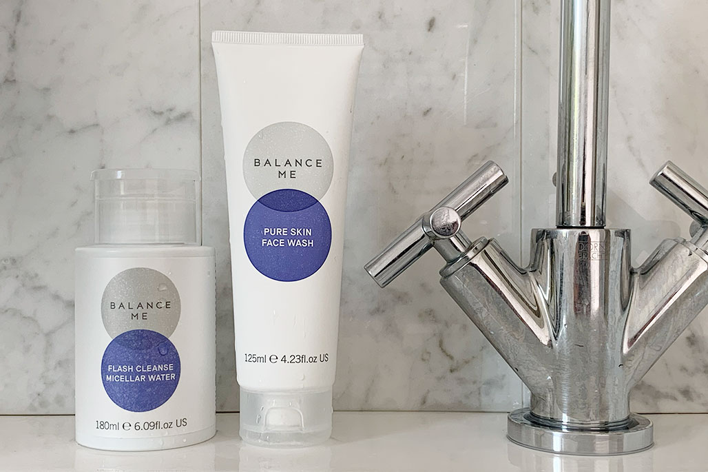 Balance Me Pure Skin Face Wash and Flash Cleanse Micellar Water in the bathroom
