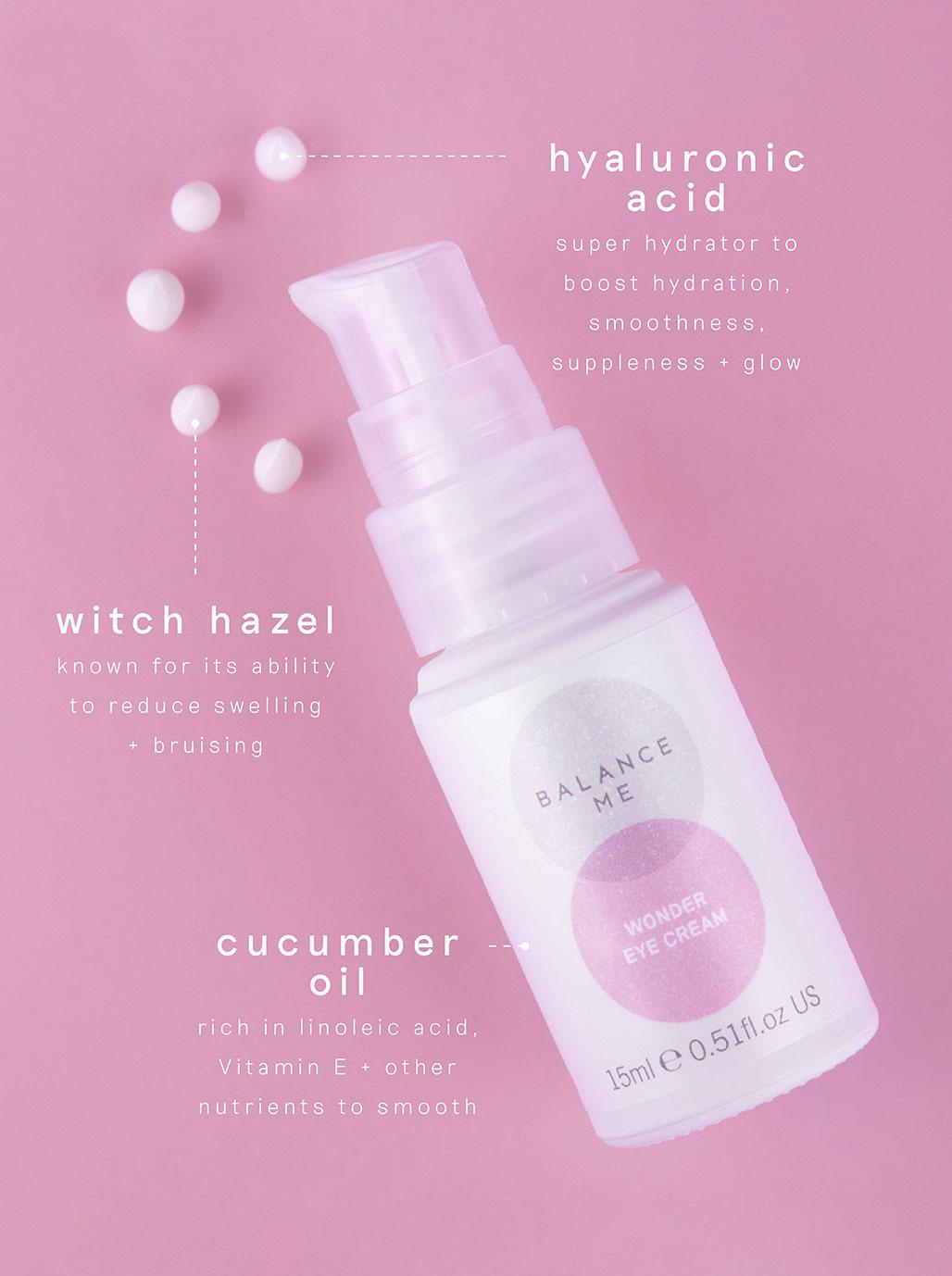 Balance Me Wonder Eye Cream active ingredients: Hyaluronic Acid, Witch Hazel and Cucumber Oil.