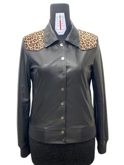 Women's Black Lambskin Jacket with Leopard Design