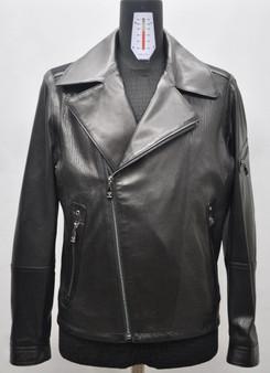Men's  Black Biker Leather Jacket with Elbow Details