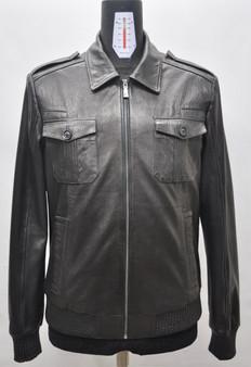 Men's Black Leather Jacket Shirred