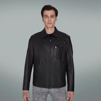 Men's Black Leather Jacket with Upper Zip