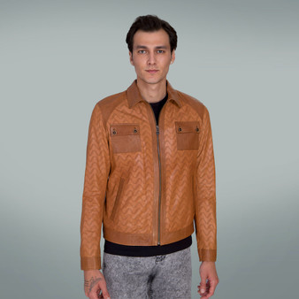 Men's Leather Jacket Whisky Color