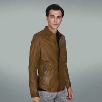 Men's Khaki Leather Shirt Blazer