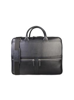 1744 Black Business Bag with Zip details