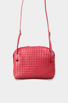 10005 Red Hand-woven leather bag