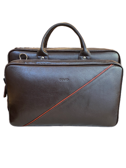 1721 Dark Brown Black Business Bag with a red diagonal detail