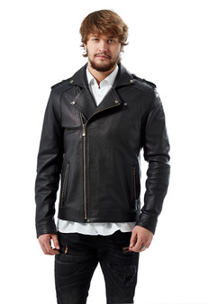 Men's Black Biker Jacket Jumbo Ho