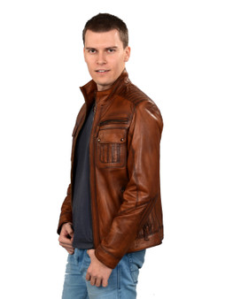 Men's Brown Leather Jacket  Shoulder details Ho