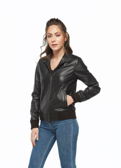 Women's Black Shiny Zipped Jacket Ho