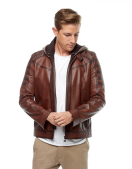 Men's Brown Hoody Jacket Ho