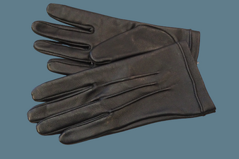 Women's Black Leather Gloves with three-strap details