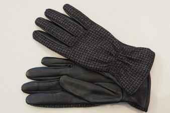 Women's Black Leather Gloves with Grey fabric surface