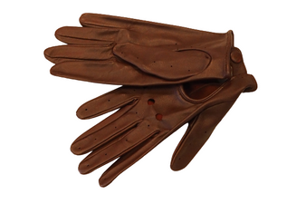 Women's Burgundy Leather Gloves with snap fastener and hole details