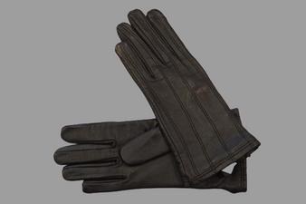Women's Dark Brown Leather Gloves with strap details