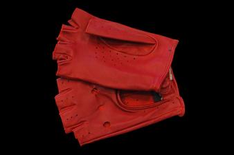 Women's Red Fingerless Leather Gloves