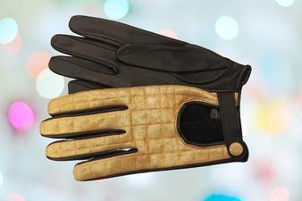 Women's Golden Leather Gloves