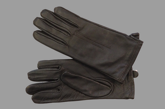 Women's Dark Brown Leather Gloves with Two Stiches details