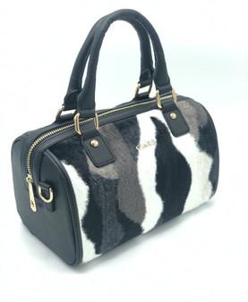 10015 Women's Black & White Furry Faux Leather Bag