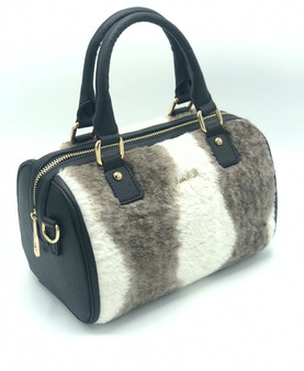 10015 Women's Brown & White Furry Faux Leather Bag