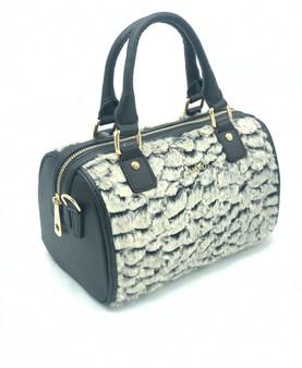 10015 Women's Grey Furry Faux Leather Bag