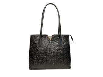 578 Women's Ostrich Embossed Black Leather Bag