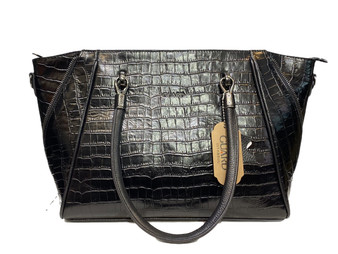 617 Women's Black Croco Leather Bag