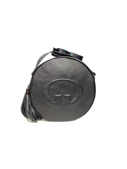 605 Black Leather Circle Bag