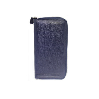 3016 Blue Leather wallet & phonecase all around zip