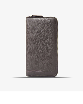 3016 Brown Leather wallet & phonecase all around zip