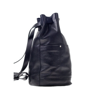 10002 Circle Shape Black Leather Backpack J