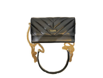 10009 Black Leather Bag & Clutch