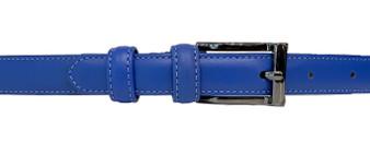 Women's Blue Thin Leather Belt