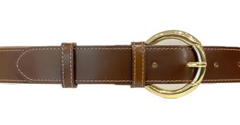 Women's Brown Leather Belt Circle